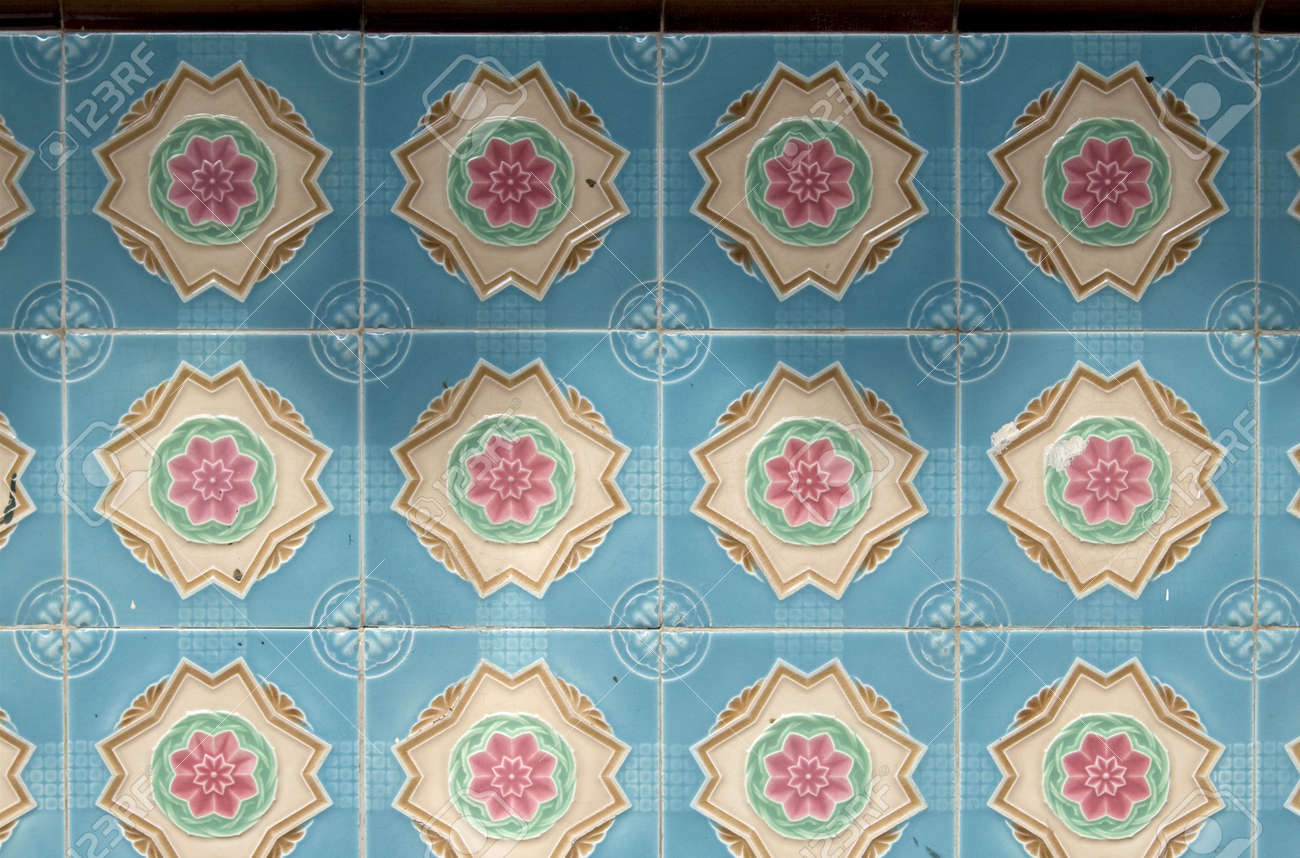 Close Up Shot Of Some Colorful Wall Tiles In Chinatown Stock Photo ...