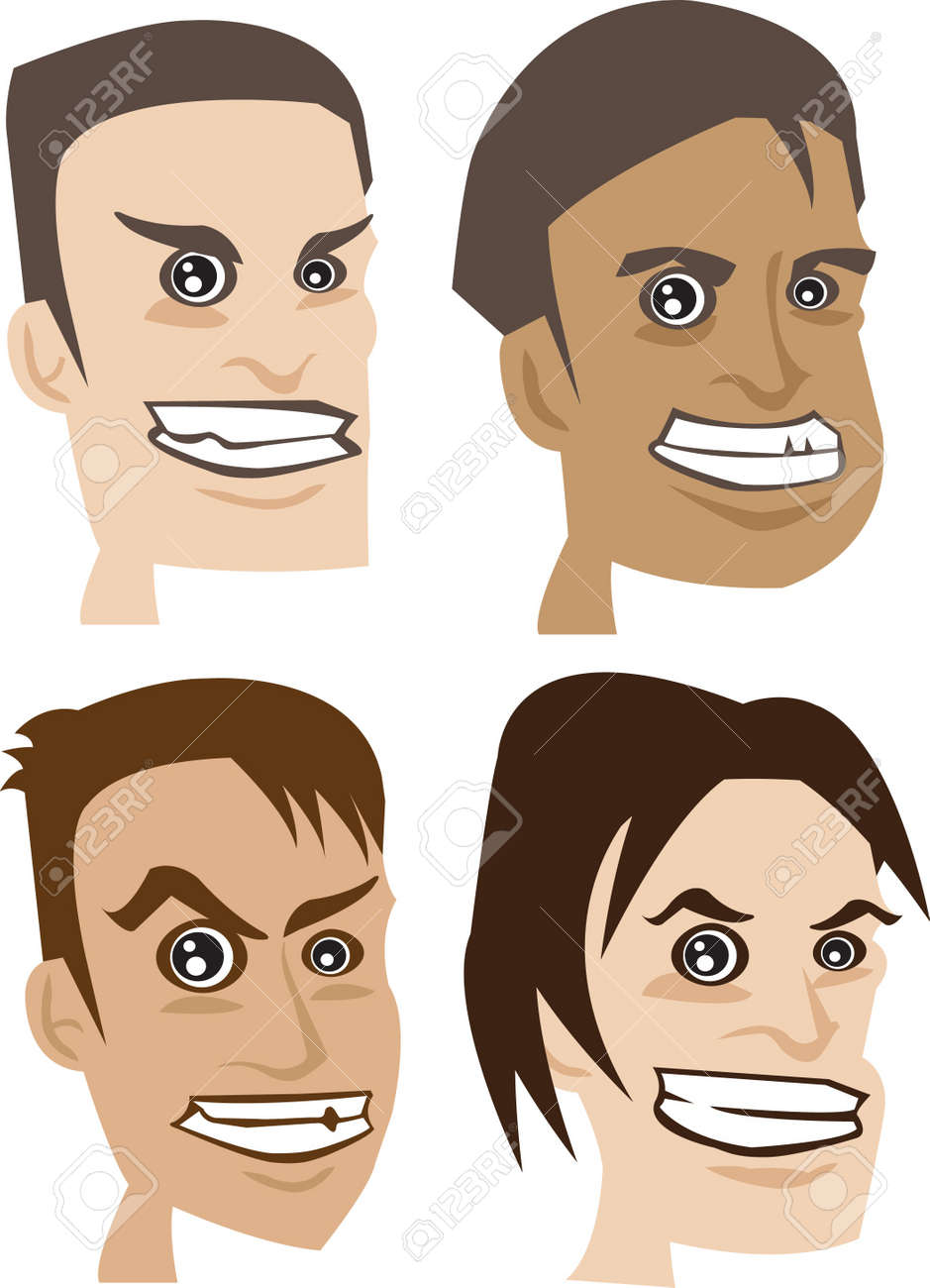 Four faces of man with different hair style and expression Stock Vector - 14487546