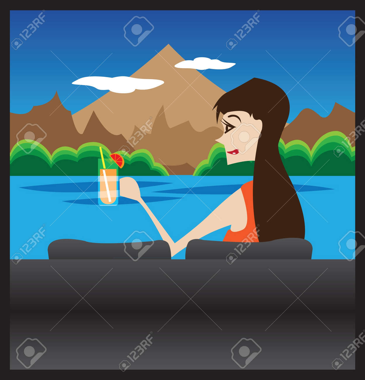 Woman enjoying her orange juice and relaxing on sofa  Enjoying the mountain view in front of her Stock Vector - 14487548