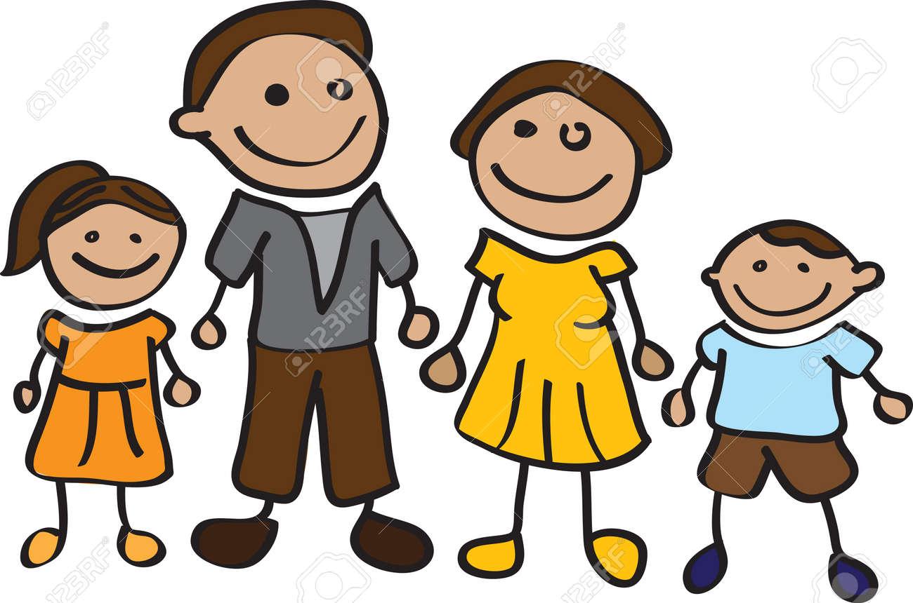 Stickman Happy Cartoon Family Royalty Free Cliparts, Vectors, And ...