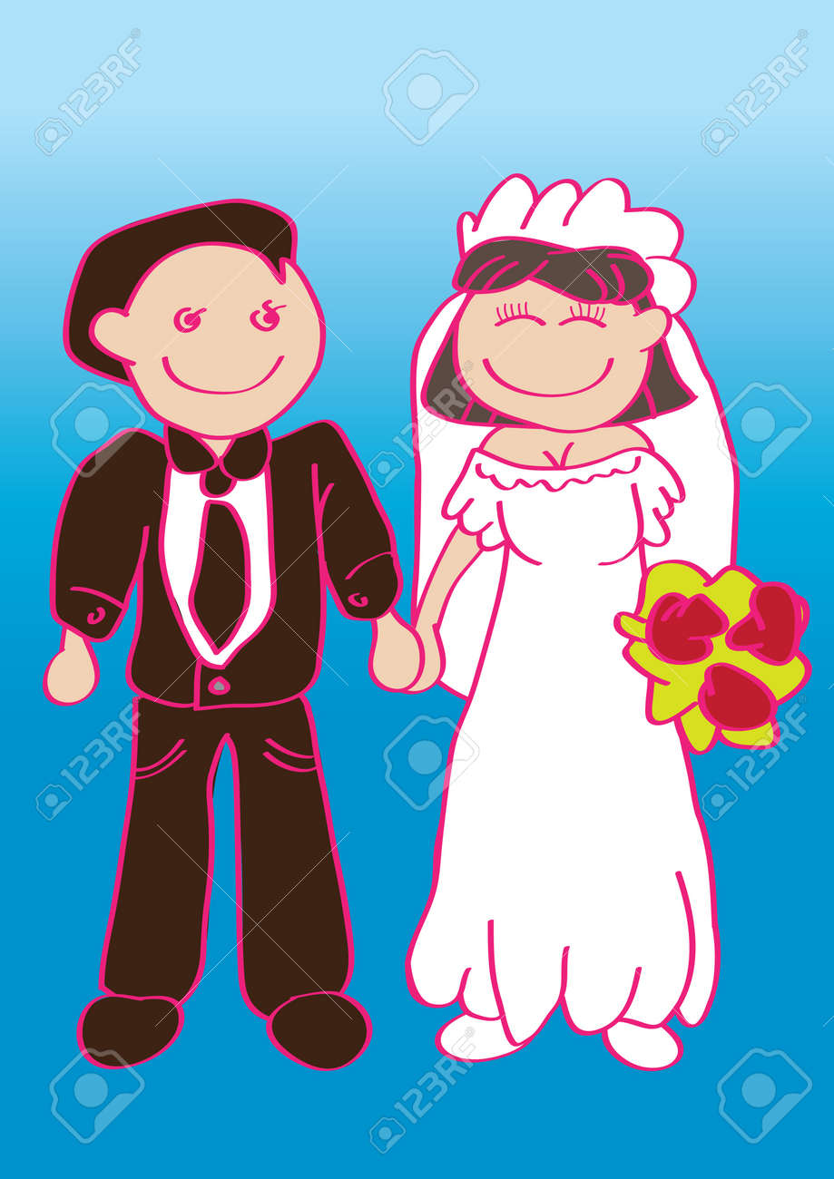 Romantic wedding set - couple standing and holding hands Stock Vector - 14877945