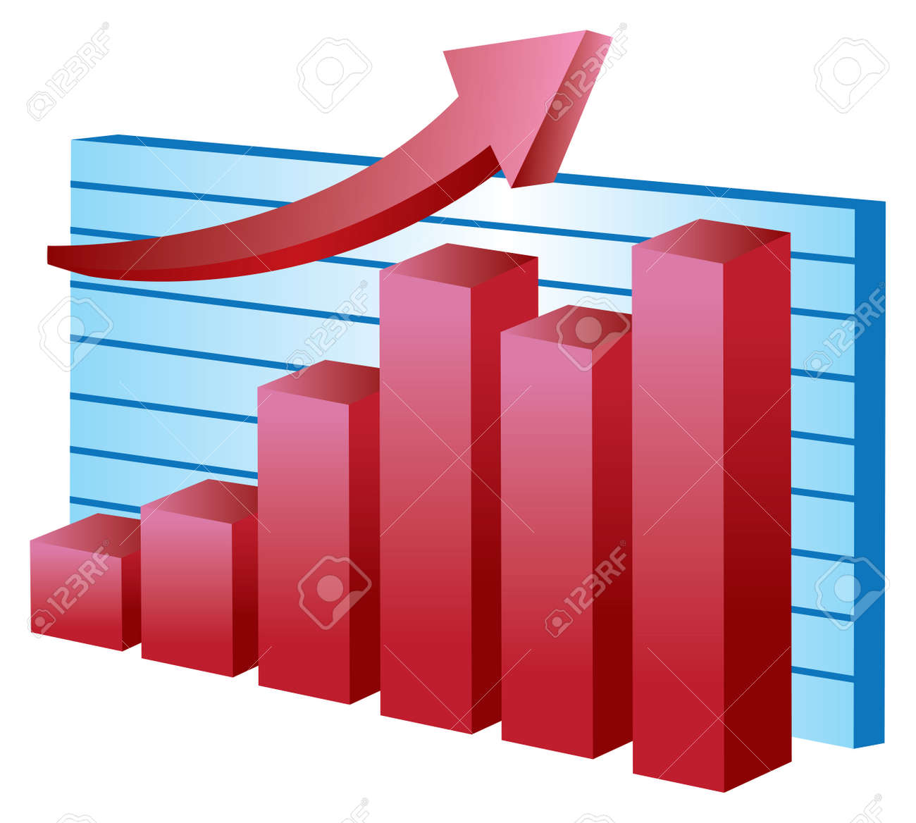 illustration of business charts, showing growth with red arrow over white background Stock Vector - 14877980
