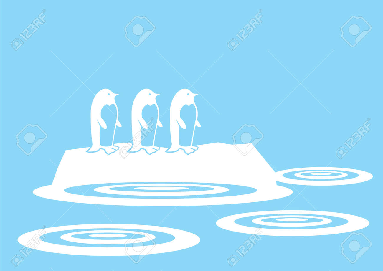 silhouette penguins on a ice Stock Vector - 15100135