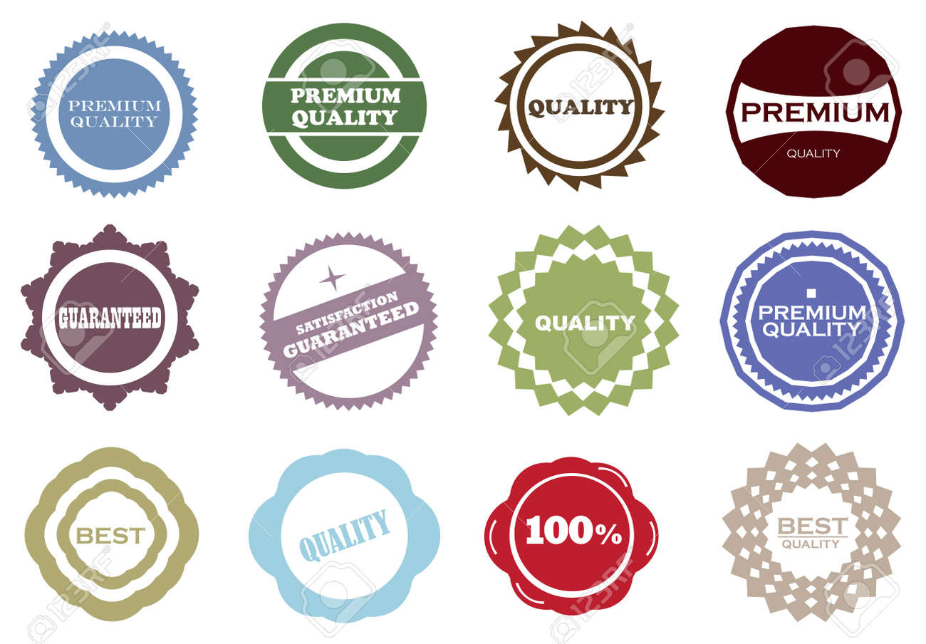 Set of Quality and Guarantee Labels with retro vintage design. Stock Vector - 15100162