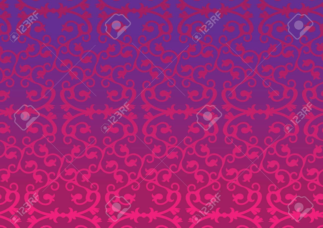 ピンクとパープル レトロな装飾的なパターンの壁紙の背景のイラスト