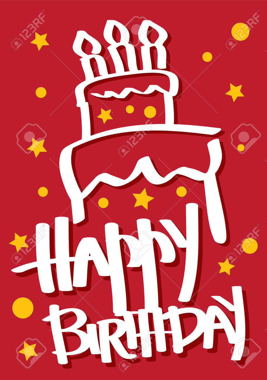 A red colored Birthday Card with a cake Stock Vector - 15327230