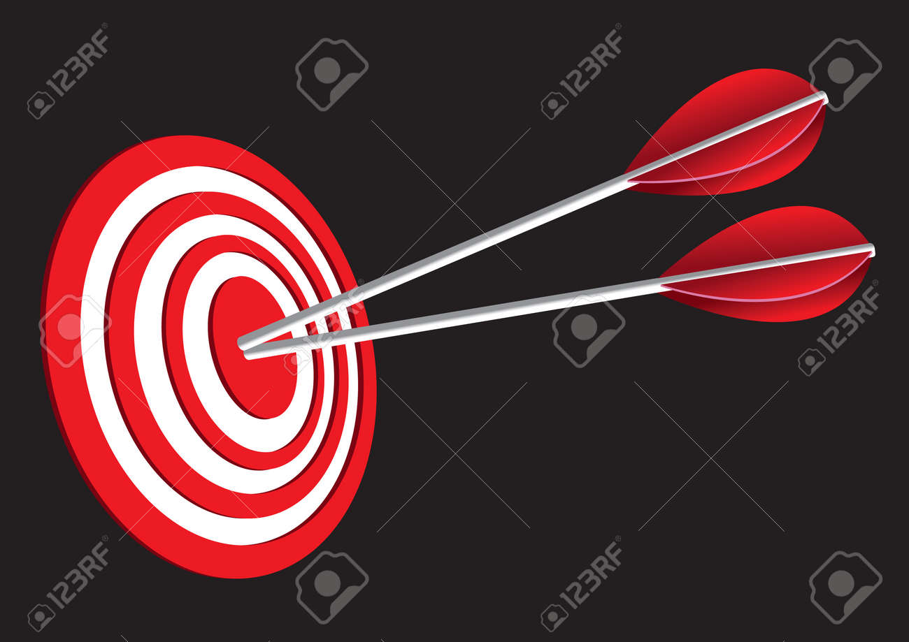 Vector illustration of  red target board with two arrows Stock Vector - 15569049