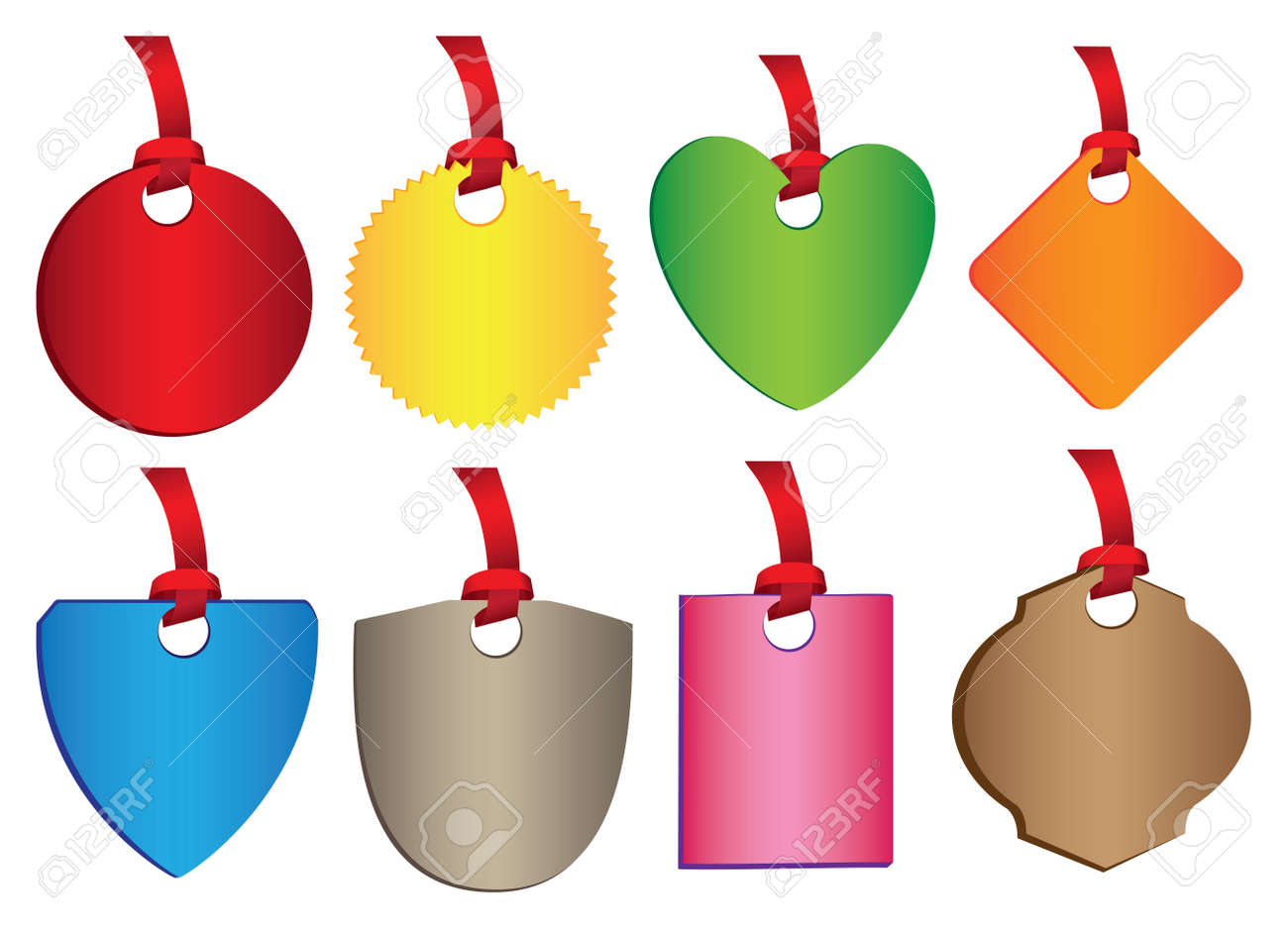 A set of colorful badges with different shapes  illustration Stock Vector - 16365451