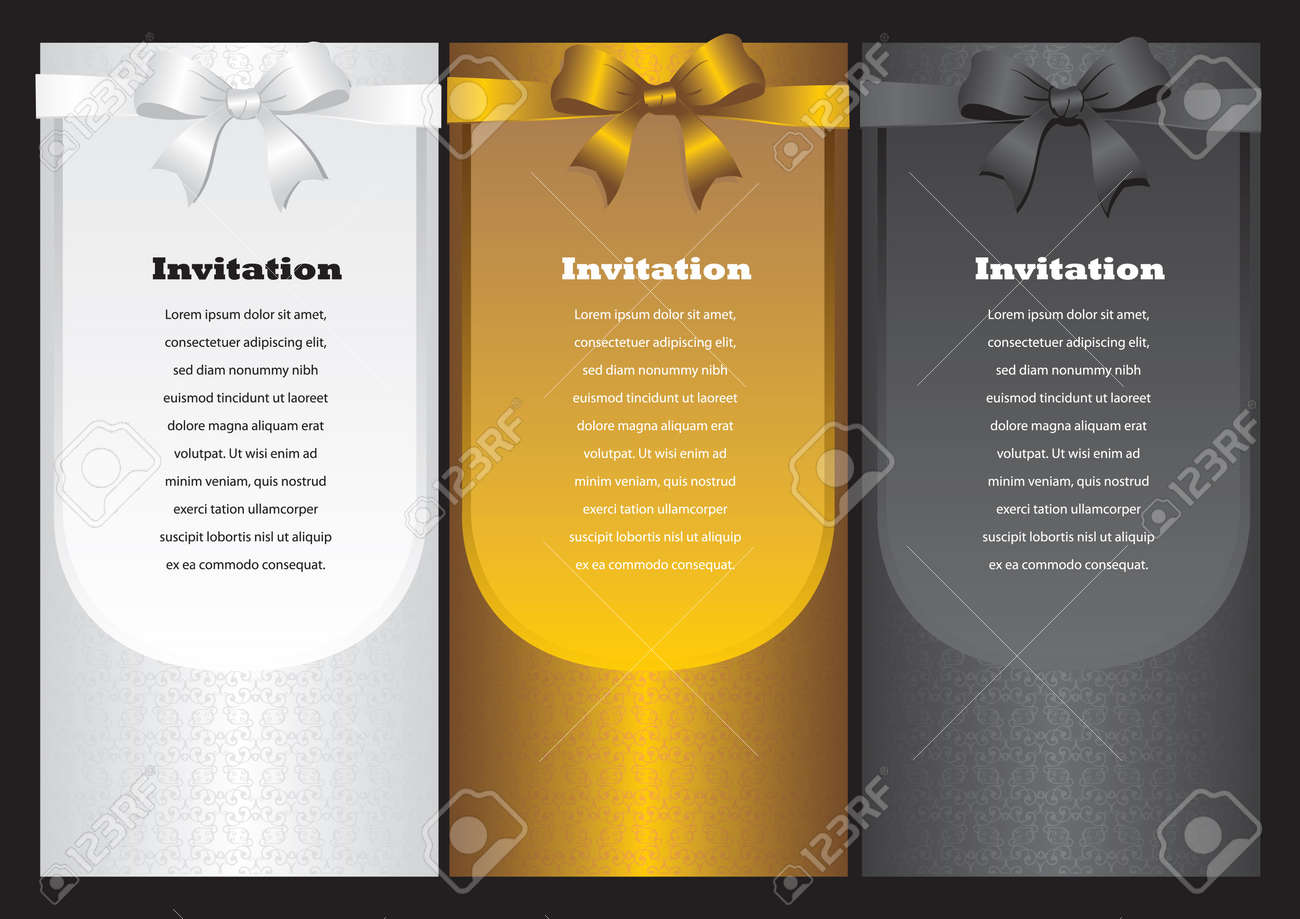 Luxury vertical invitation cards with ribbon bow  Vector illustration Stock Vector - 16667317