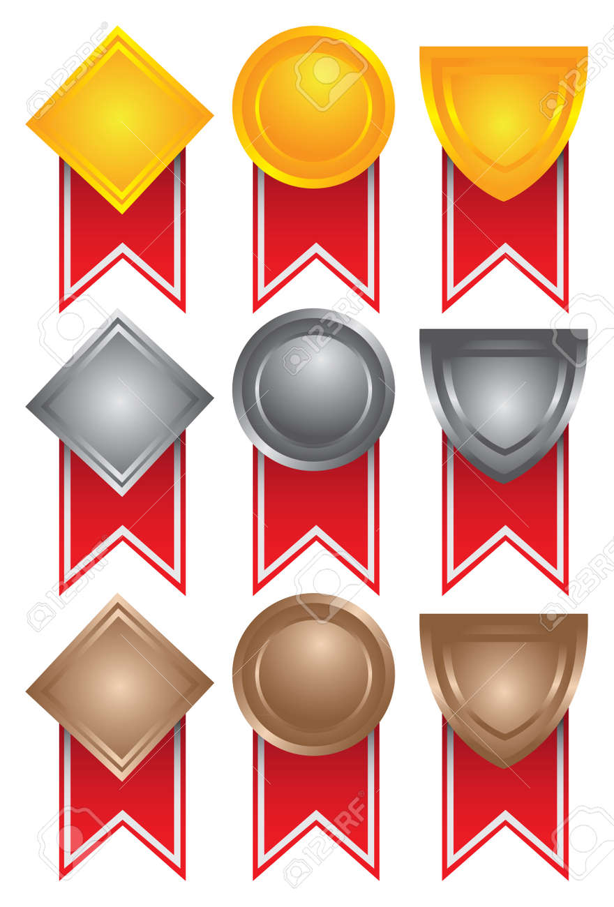 Collection of medals in gold, silver and bronze  illustration Stock Vector - 16667198