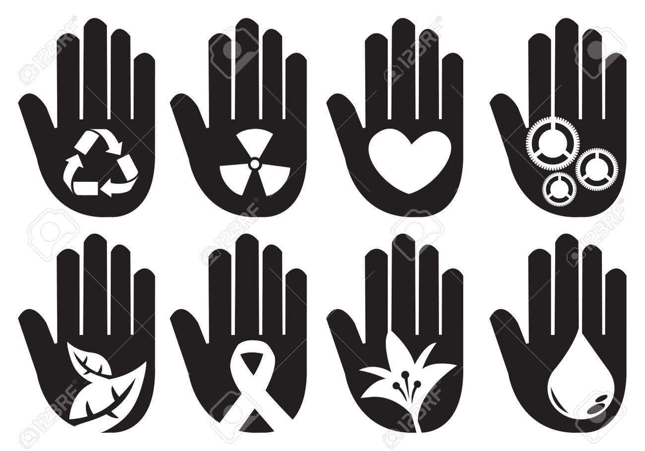 Conceptual Hand Symbols For Different Community Messages Vector