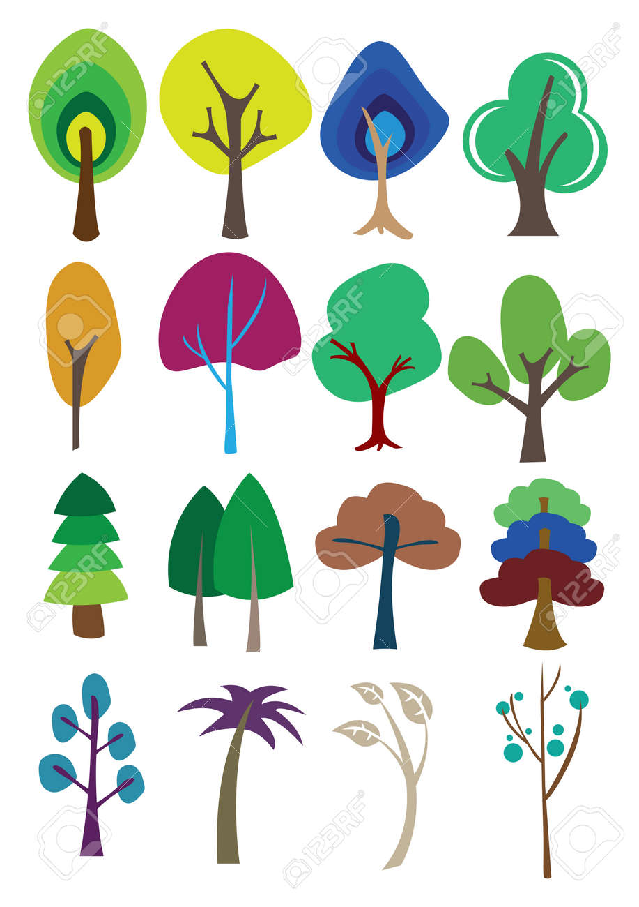 さまざまな用途のカラフルなイラストの木。のイラスト素材・ベクタ ...
