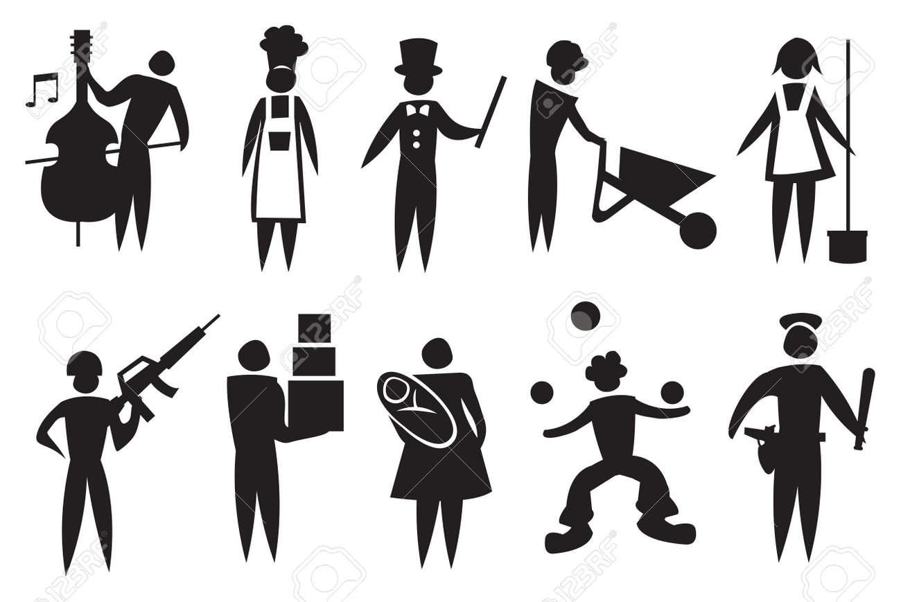 Bauarbeiter schwarz weiß  Vektor-Illustration Zeigt Verschiedene Berufe Schwarz-Weiß-Symbol ...