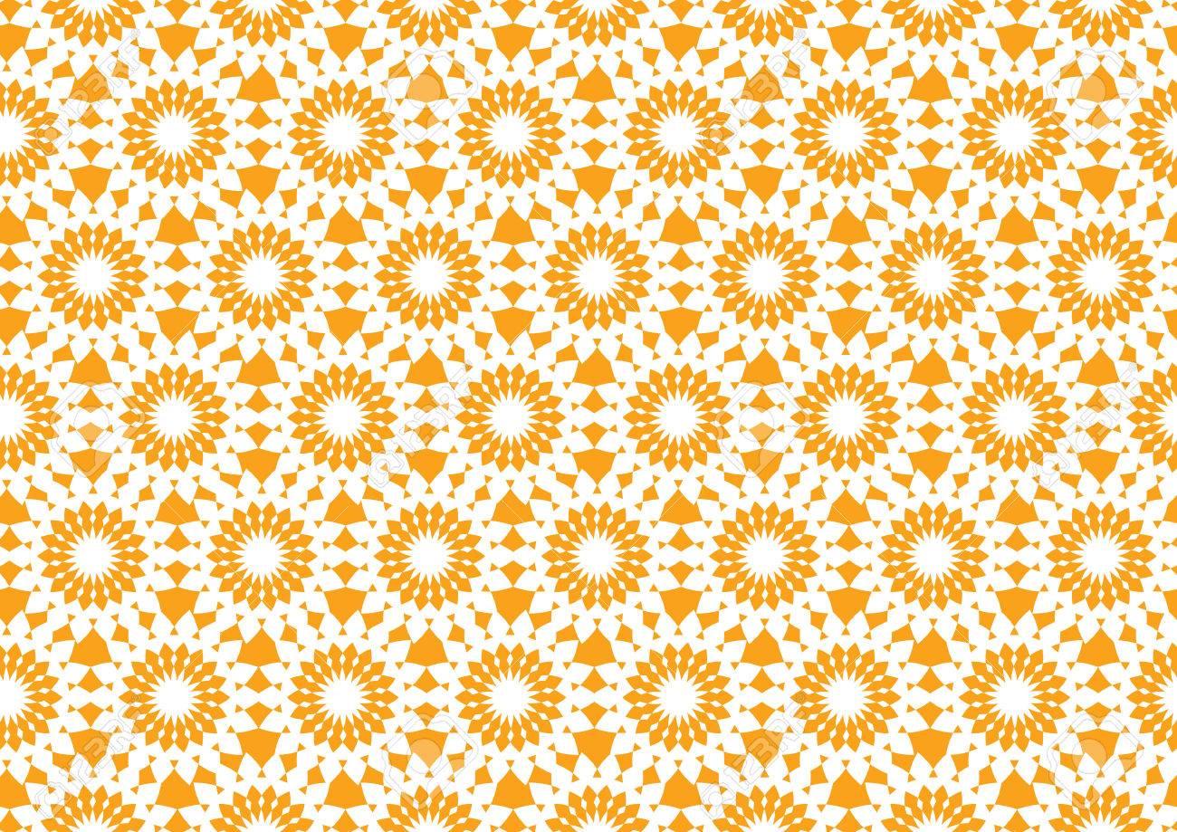 シームレスな壁紙のオレンジ色の万華鏡のような円形のパターンの