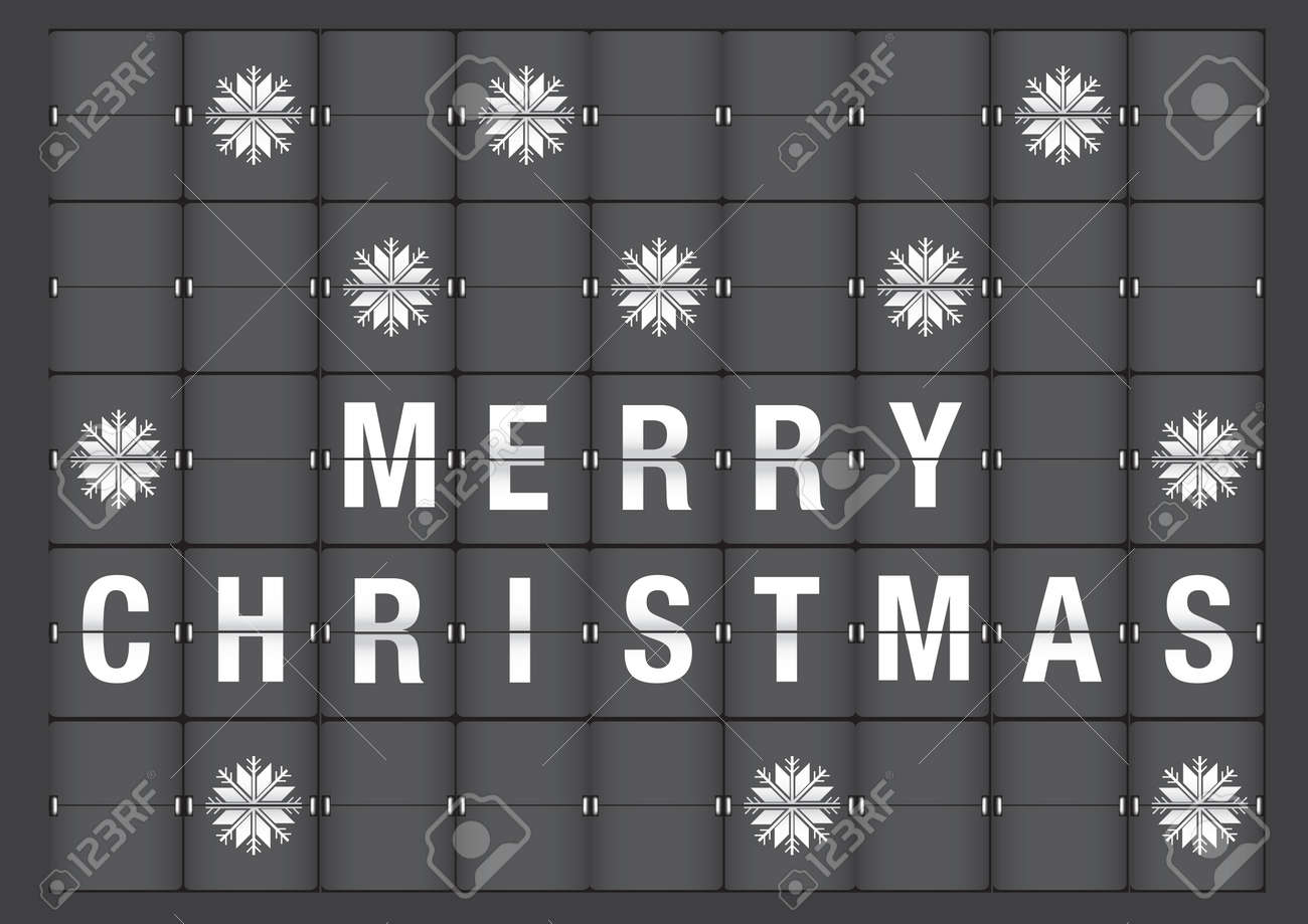 Picture A Christmas Flipchart.Illustration Of Holiday Greeting Merry Christmas And Snow Flakes