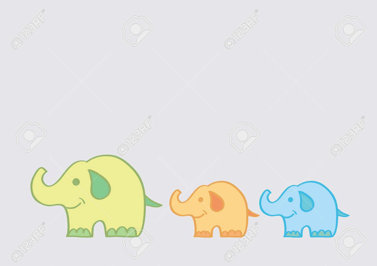 Colorida Ilustración De Dibujos Animados Vector De Un Elefante Madre