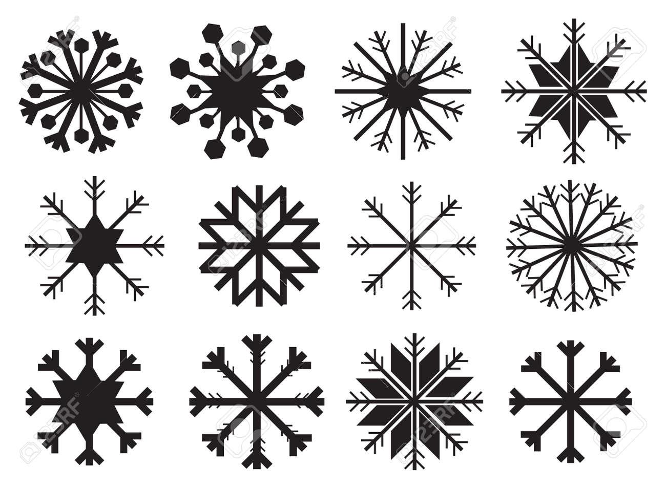 Vector Dessins De Flocons De Neige En Noir Isole Sur Fond Blanc Clip Art Libres De Droits Vecteurs Et Illustration Image 32791164