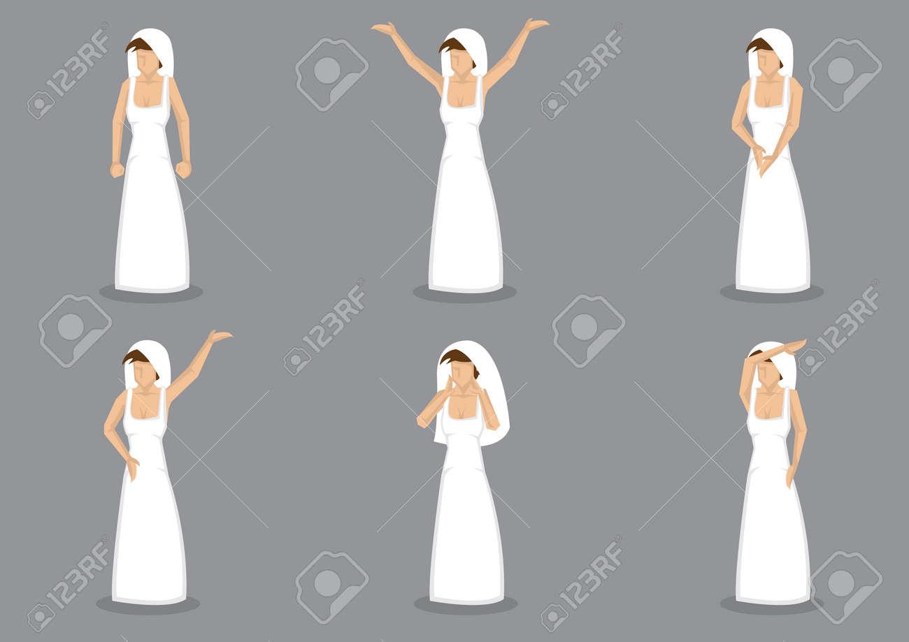 Différentes Longue La Blanche Six De Et Dans Vectorielle Simple VoilePersonnage Poses Illustration Ensemble Mariée Robe VpGqUSzM