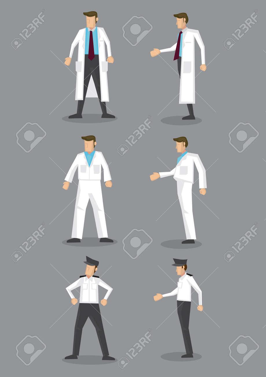 0eeb6bcd65ee4 写真素材 - 異なる白い制服に孤立した白い背景の男の職業ベクトル アイコンを設定