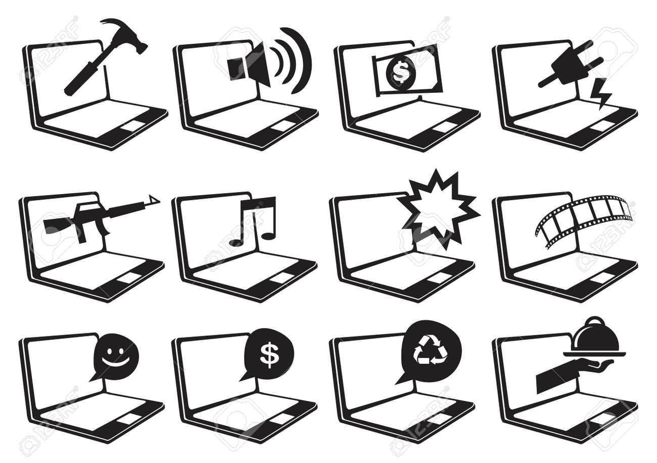 Black and white vector icons of laptop computers with different black and white vector icons of laptop computers with different conceptual symbols for internet websites and buycottarizona Choice Image