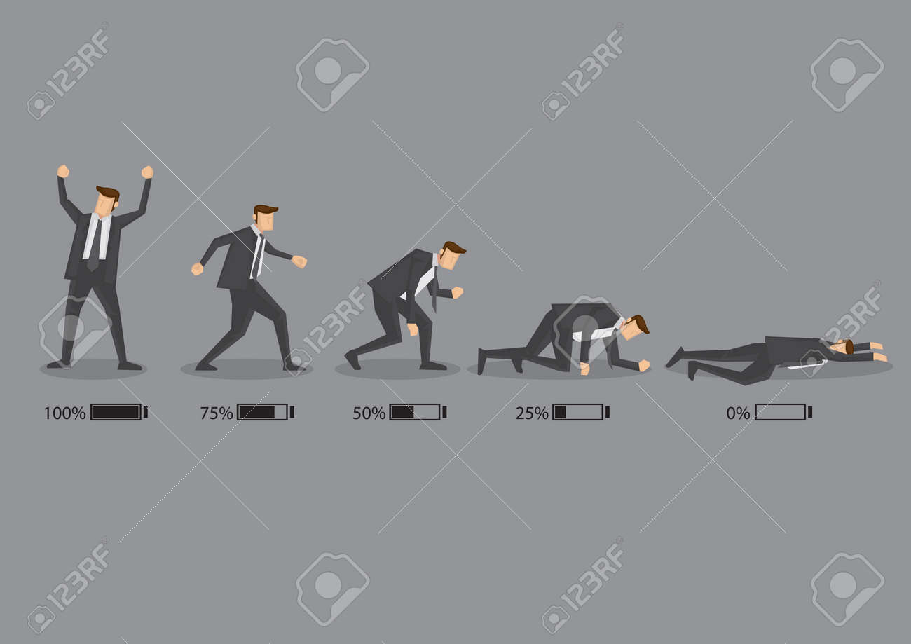 Series of a business executive in suit with battery indicator to show his energy level, from fully charged to drained and exhausted. Conceptual vector cartoon illustration isolated on grey background. - 42460693