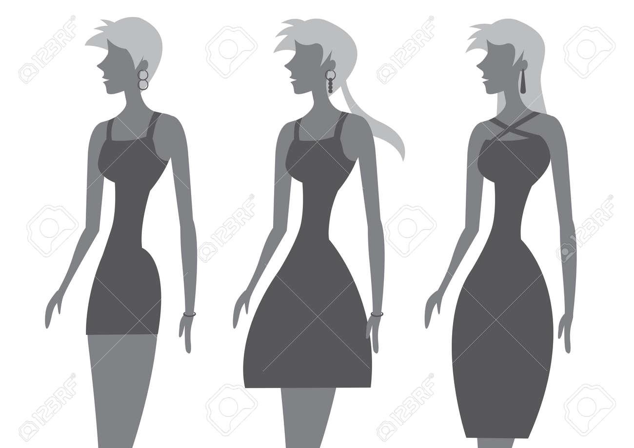 Vector Illustration De La Femme Avec La Taille Fine Et Coiffure ...