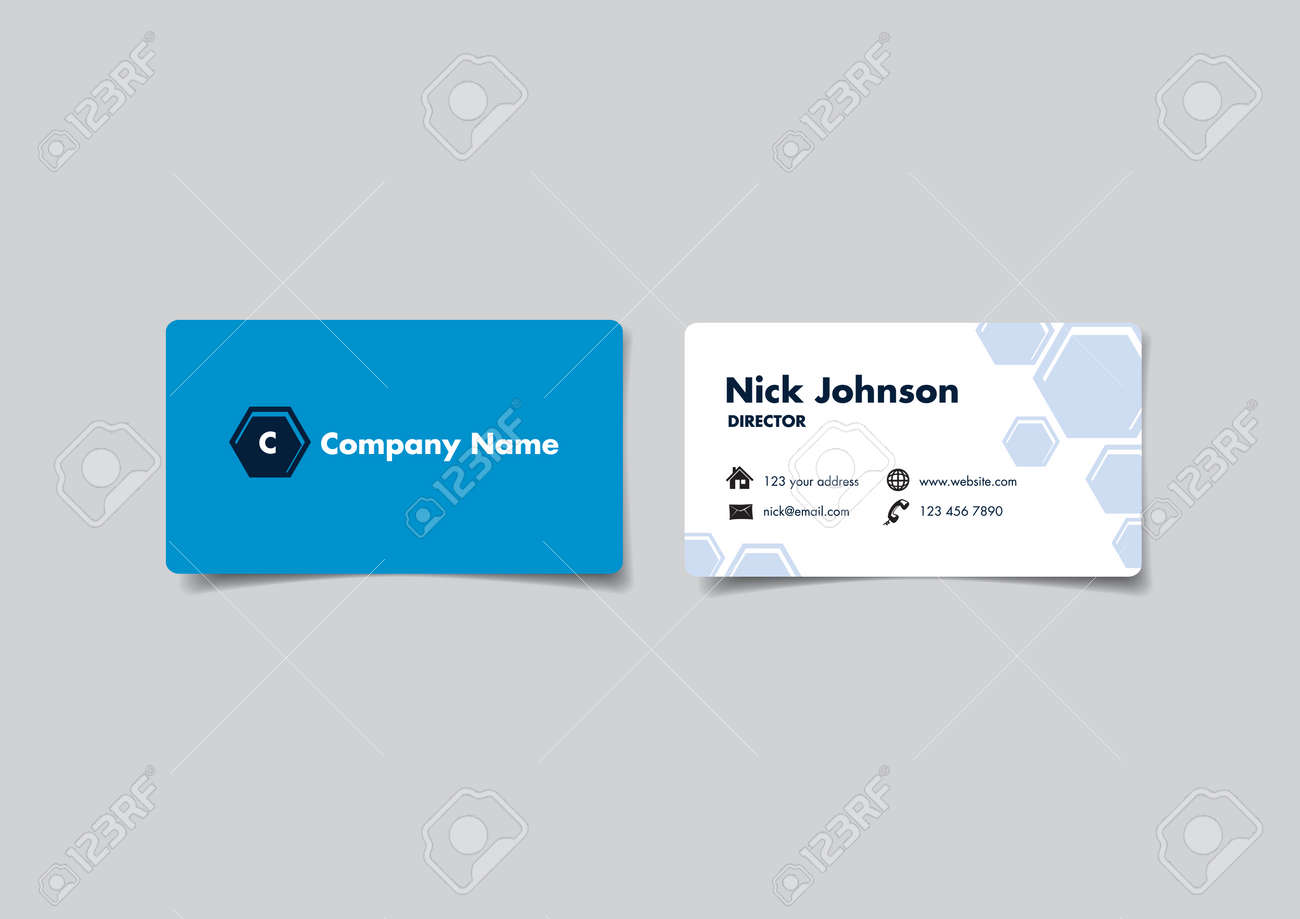 Front And Back Of A Blue White Name Card With Hexagon Design Vector Illustration