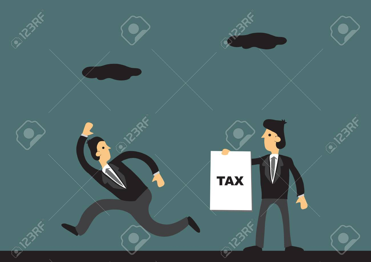 Cartoon businessman running away from tax collector. illustration on tax evasion concept. - 55492525