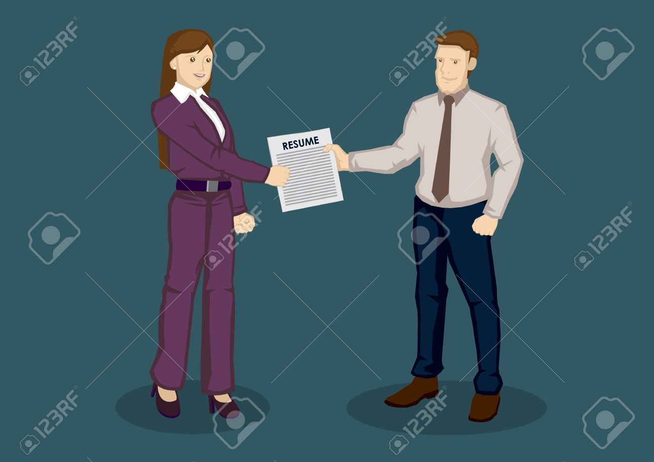 Cartoon Businessman Handing Over Resume To Business Woman In