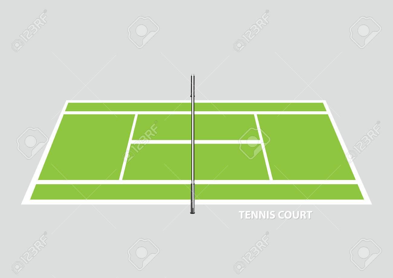 空の中分周器ネット テニスコート立面図の側から見た無地の背景に