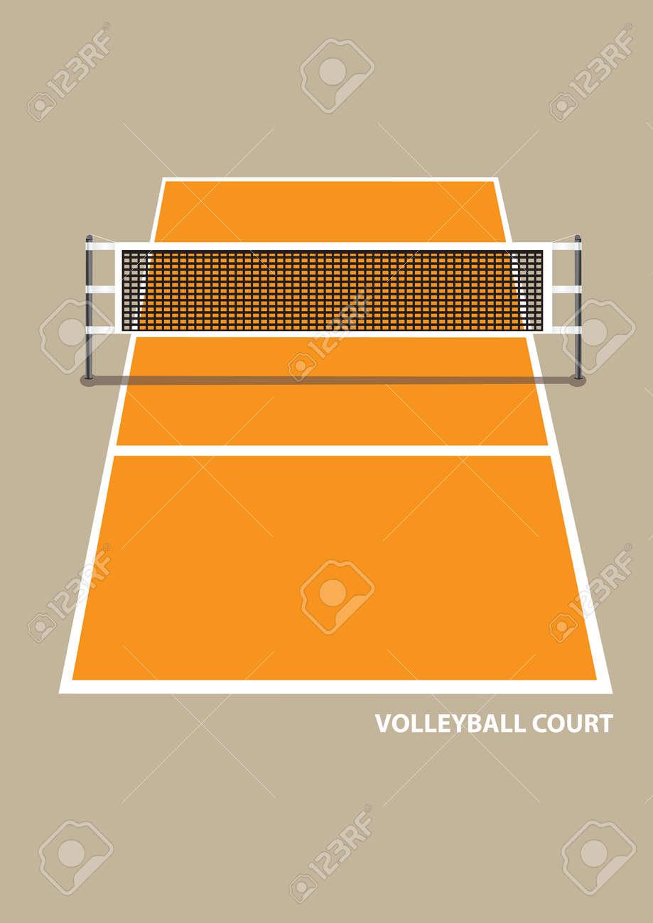 Ilustración Vectorial De Una Cancha De Voleibol Con Un Neto En Vista