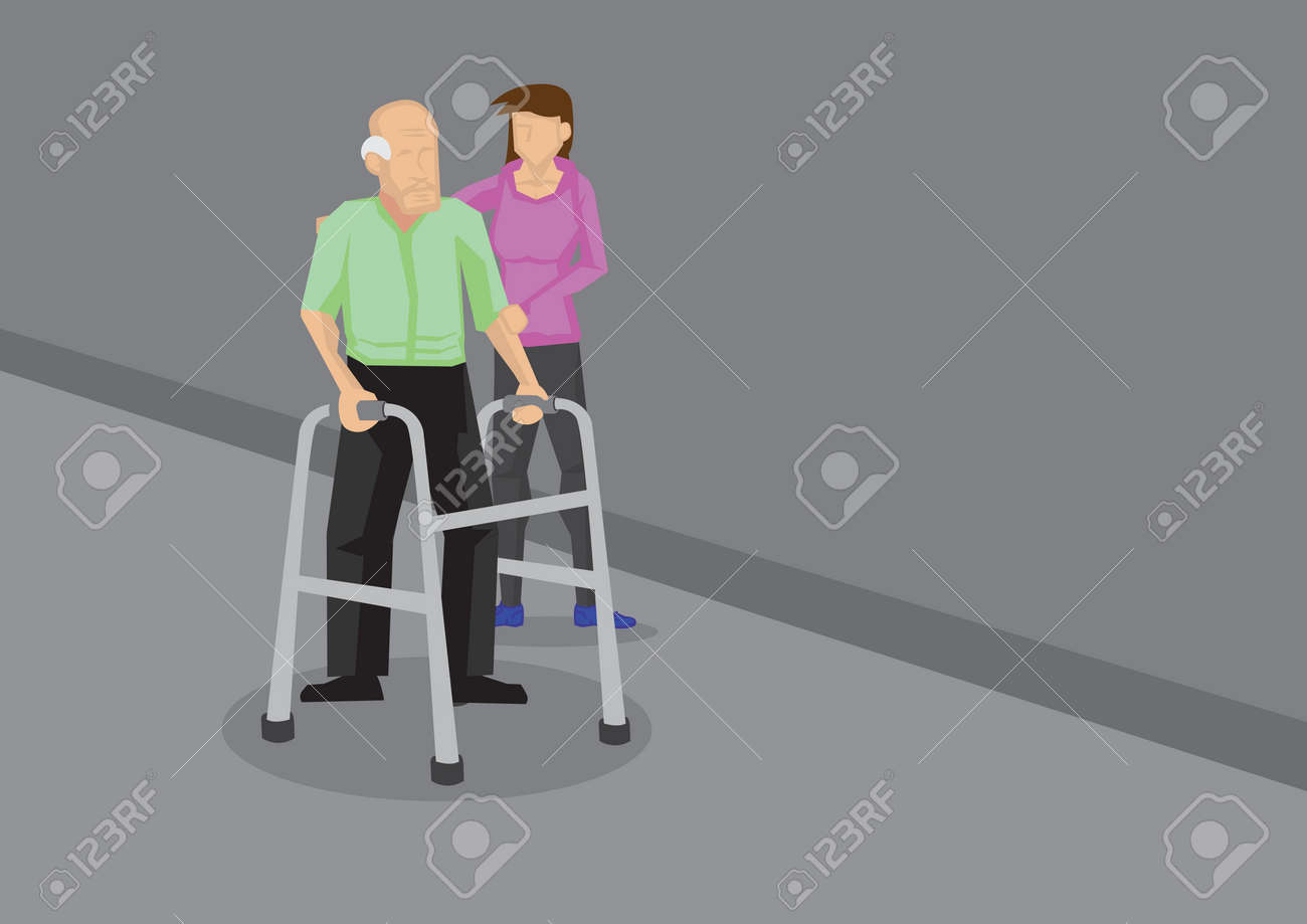 Young woman holding on to an old man with a walking frame. Vector cartoon illustration in caring for elderly concept. - 62511550