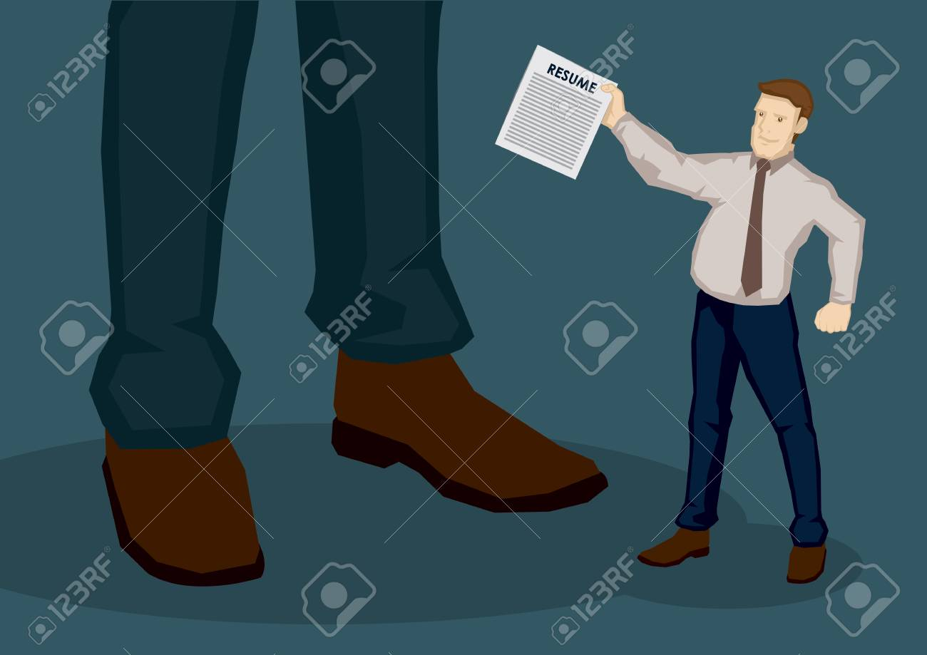Cartoon Businessman As Job Seeker, Handing His Resume To Unknown ...