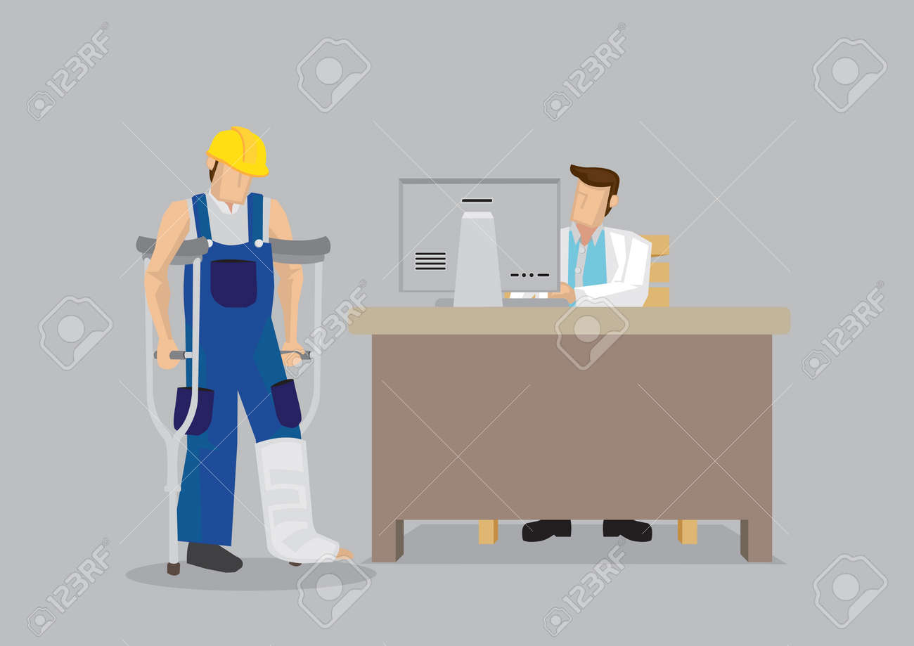 Cartoon worker character wearing yellow helmet and overall with leg in plaster cast uses crutches in seek medical treatment at doctor office. Vector illustration on work injury concept. - 97854268
