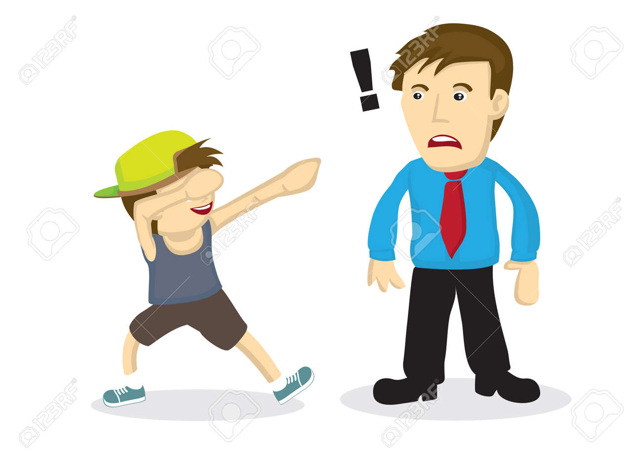 Illustration of a boy doing a dab and his father do not know