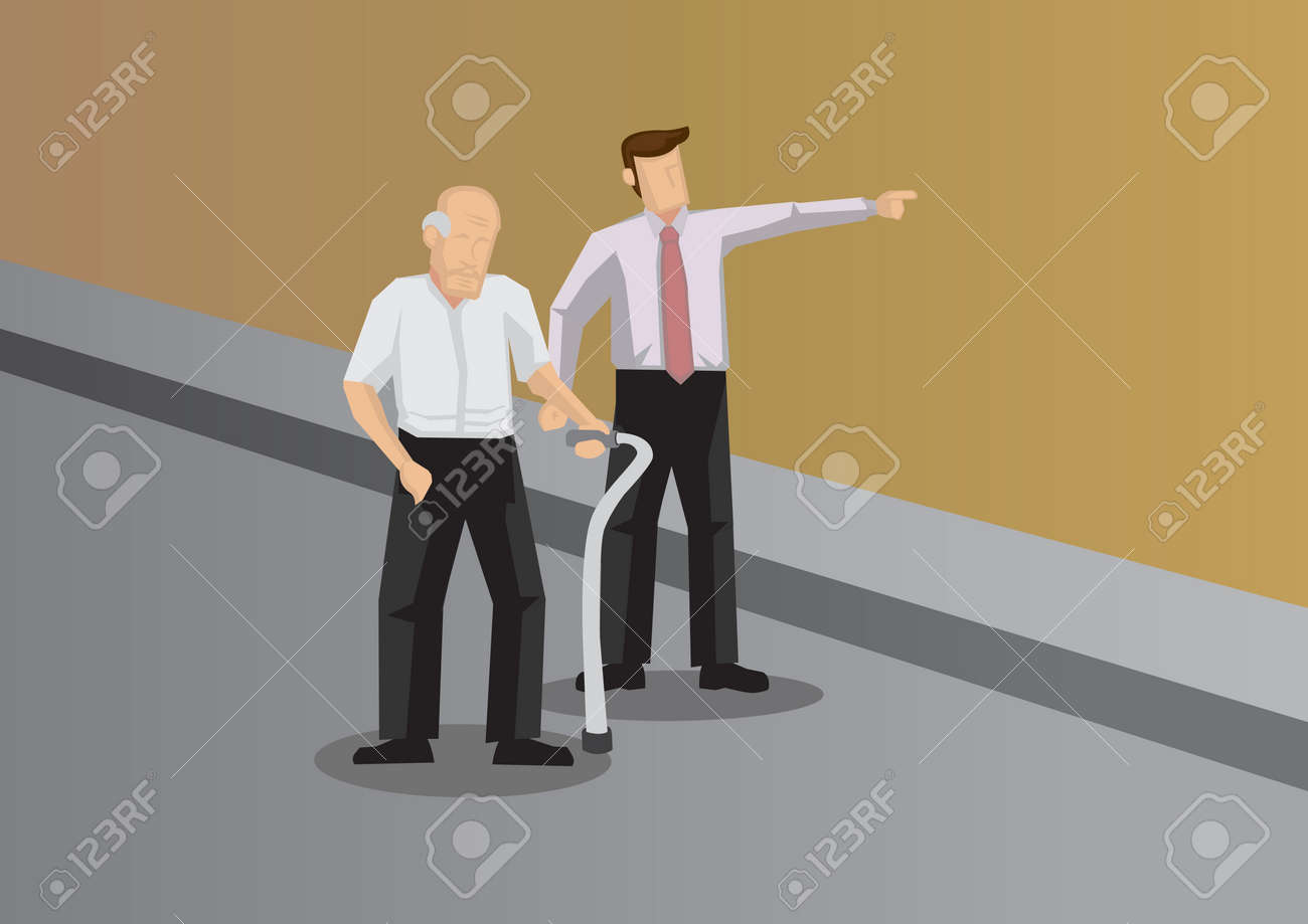 Kind young man showing the way to elderly with walking aid. Vector illustration for helping and kindness concept. - 110167921