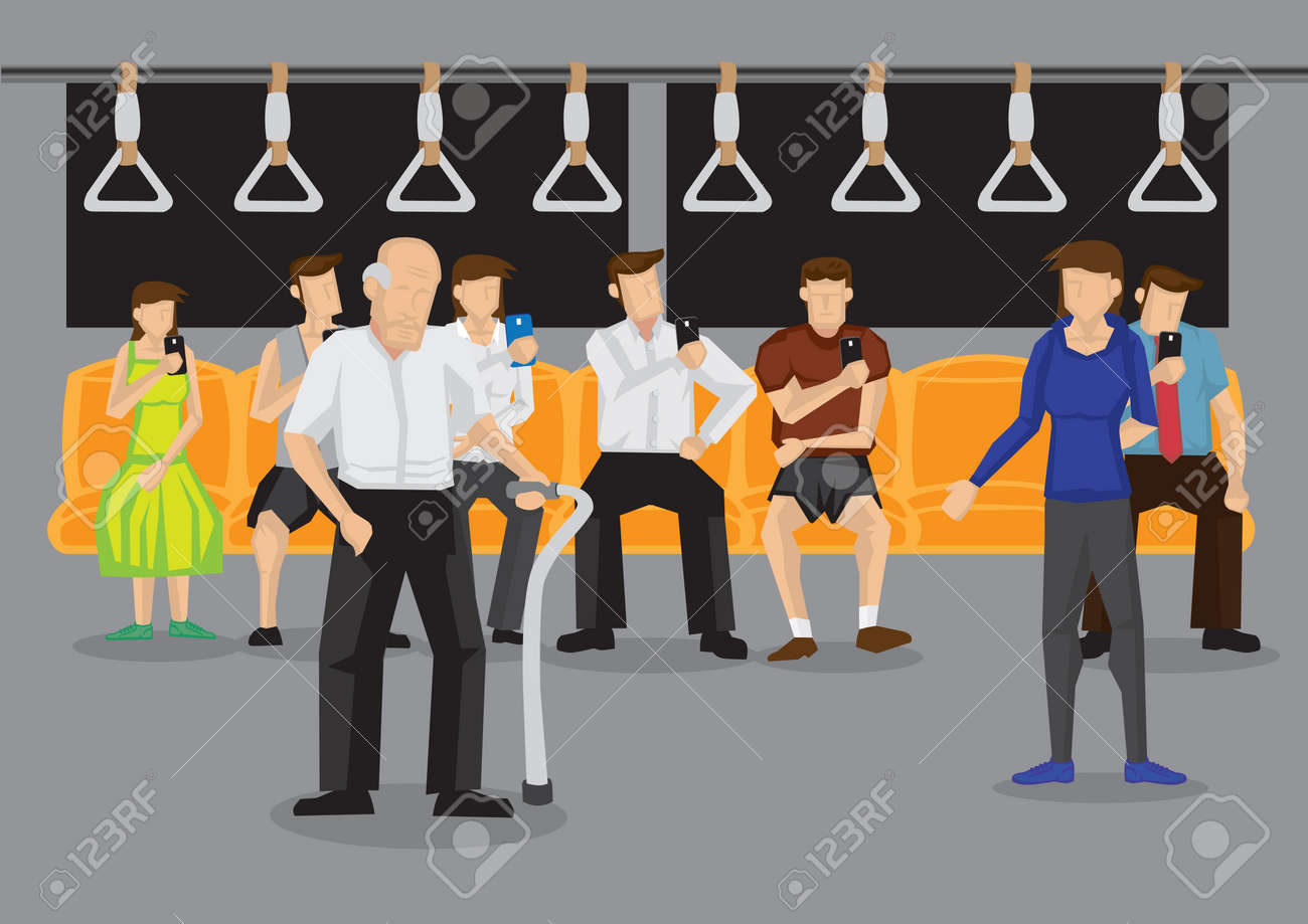 Woman giving up her seat to elderly man in public transport. Vector illustration on kind acts in public places concept. - 123216584