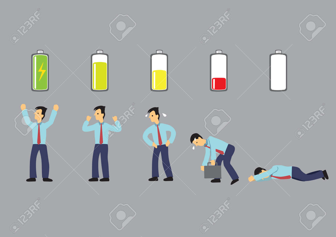 Series of a business executive in suit with battery indicator to show his energy level, from fully charged to drained and exhausted. Conceptual vector cartoon illustration isolated on grey background. - Vector - 124650404