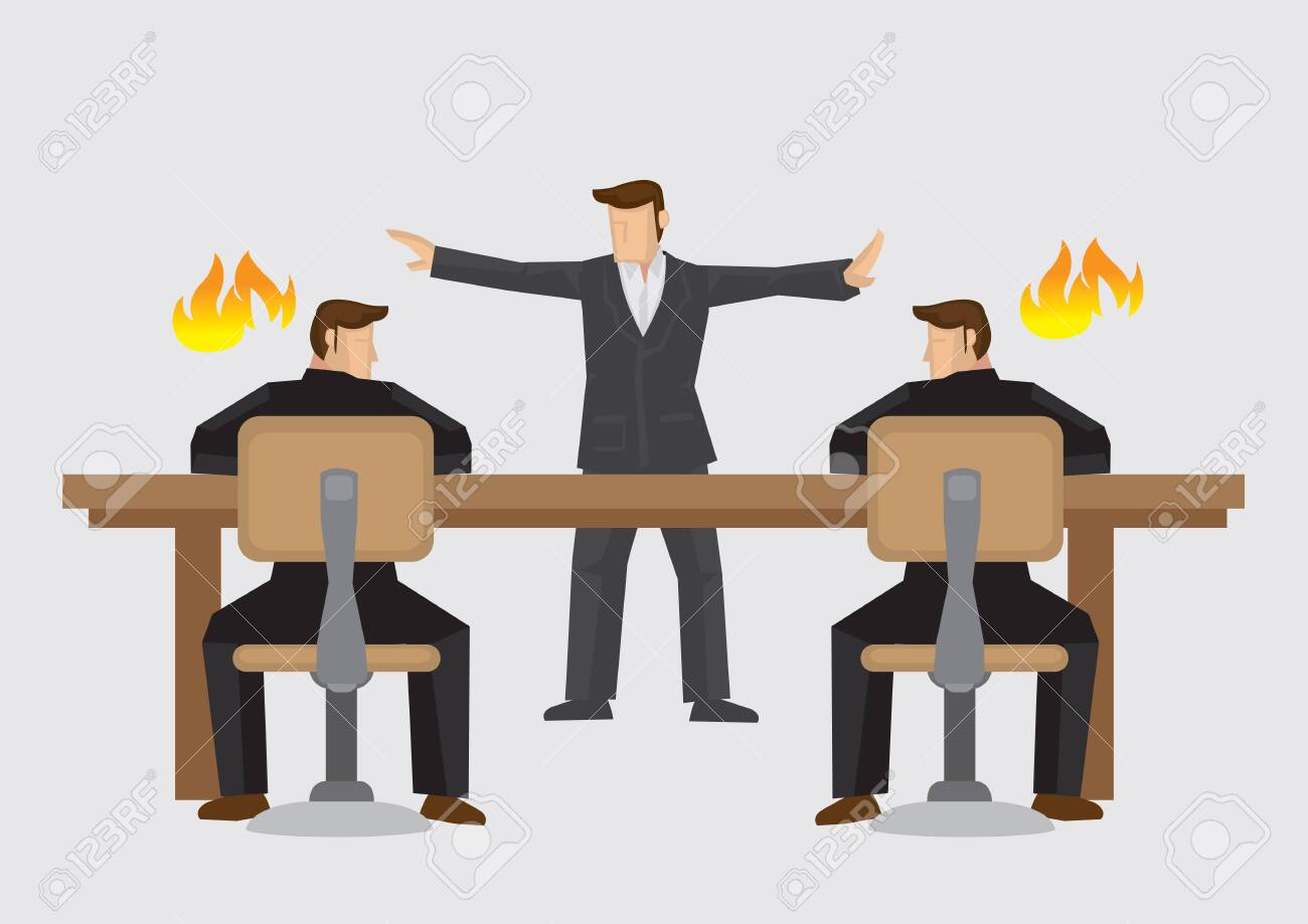 Mediator trying to resolve businessmen deadlocked in acrimonious debate. Vector illustration on business mediator or dispute resolution concept isolated on plain background. - 133091266