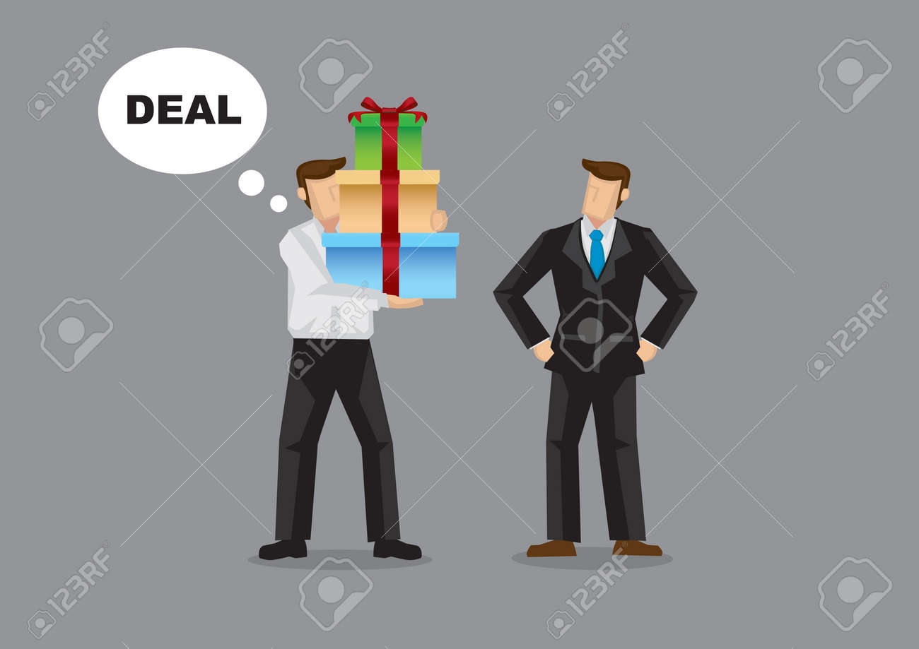 Businessman giving bribe gift to another businessman so as to win a deal. Isolated vector illustration. - 144391161