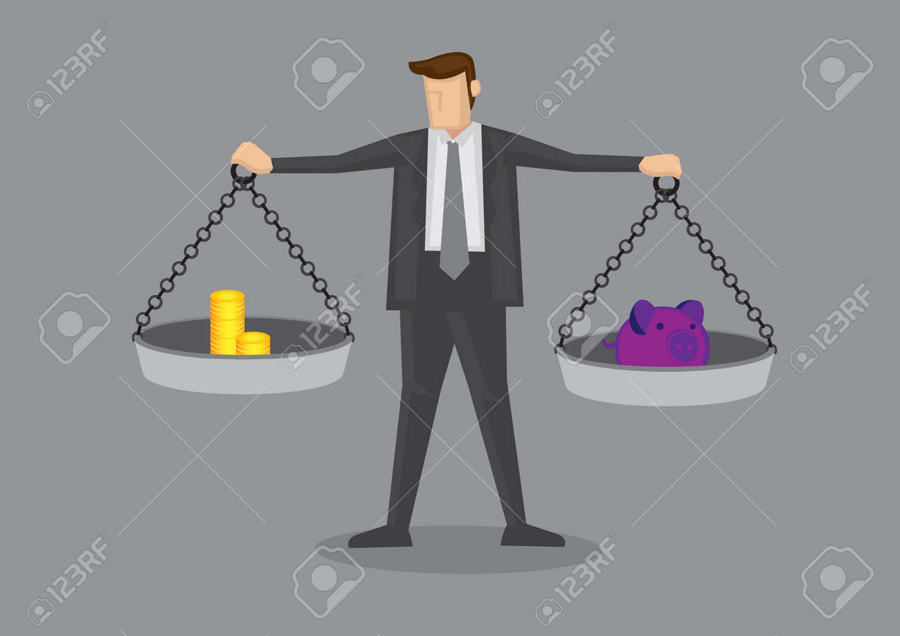 Cartoon businessman holding weighing scales with gold coins on one side and piggy bank on the other. Creative vector illustration on business financial concept. - 145463350