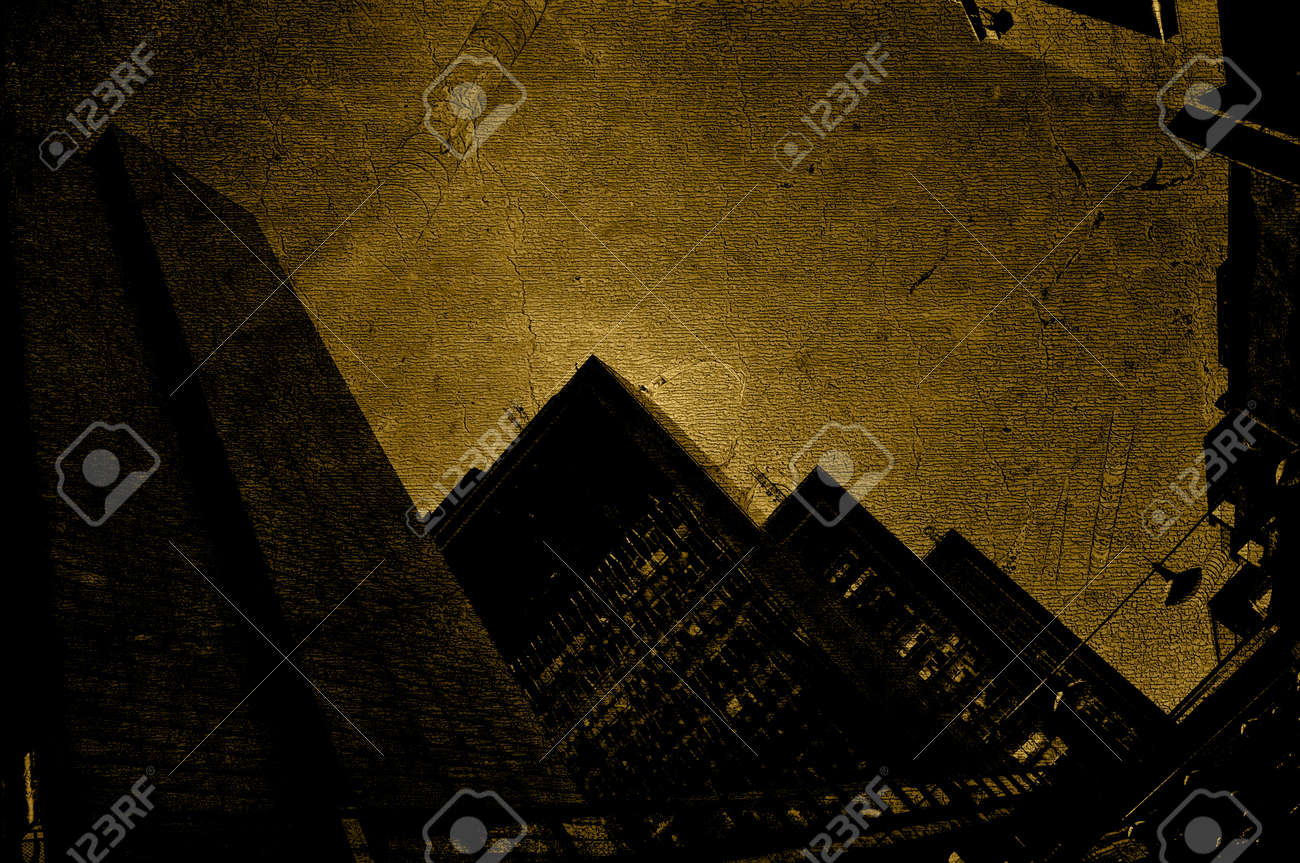 Urban background. Skysrapers with a layer of a fossil wall. Dark grunge. Stock Photo - 11621384