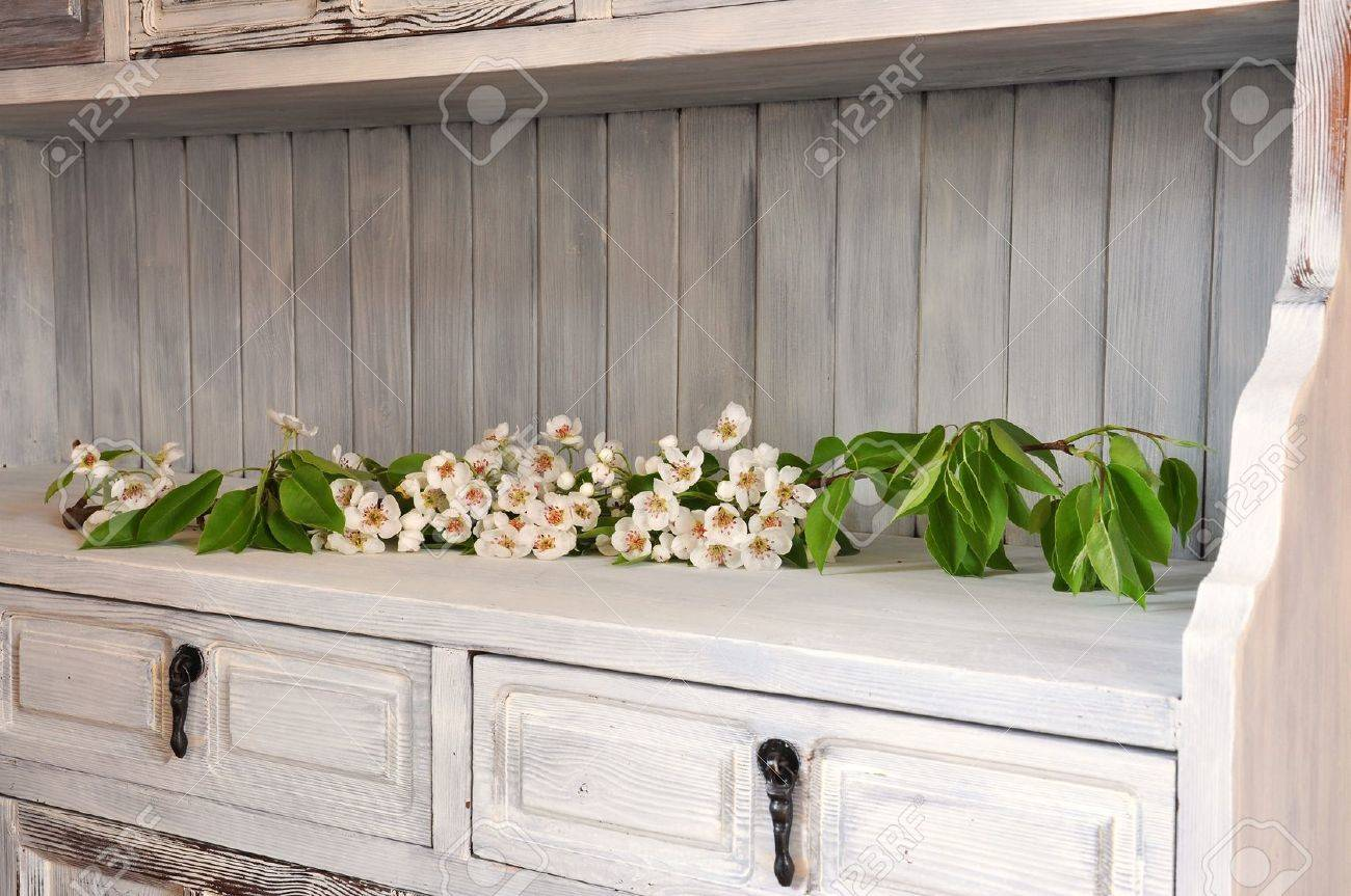 Flowering pear branch in an old shabby chic cabinet Stock Photo - 19716486