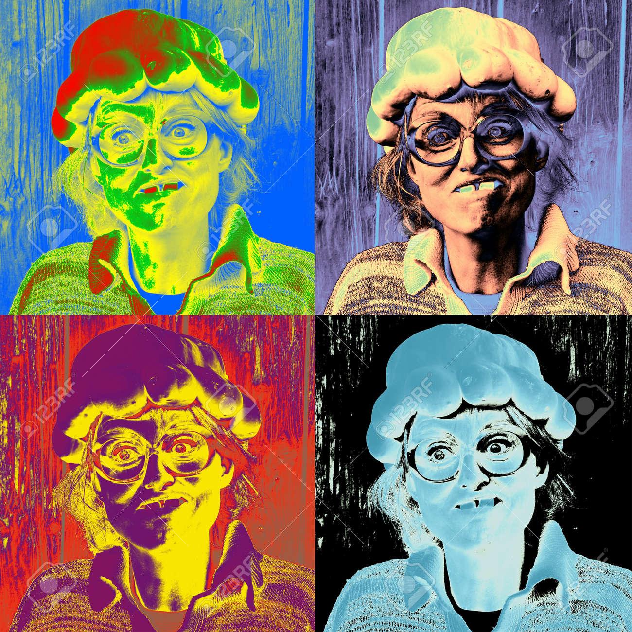 Andy Warhol Inspirierten Kunstwerk Von Einem Goofy Frau In Einem