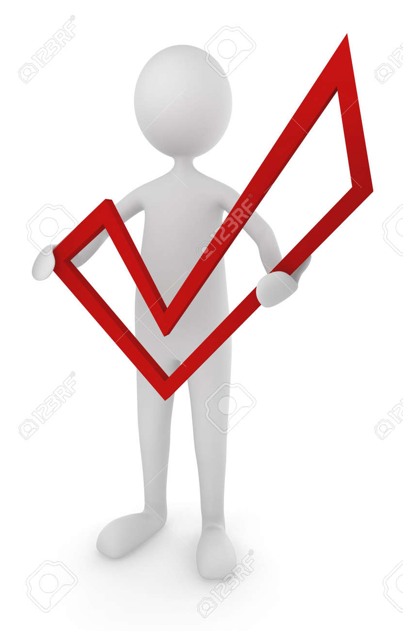 Man holding red check mark Stock Photo - 5549287