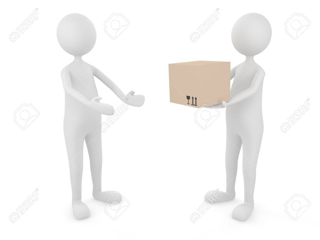Man delivering cardboard box to a client Stock Photo - 7163384