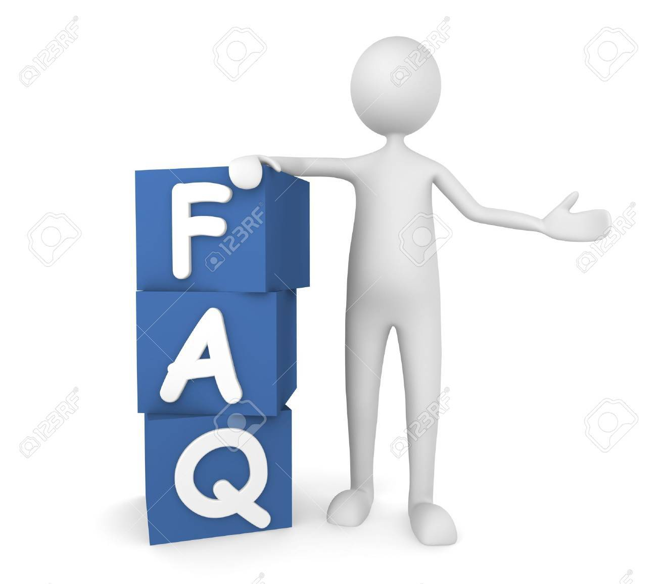Concept depicting man leaning on to FAQ boxes; great for web sites, advertisements, help concepts. Stock Photo - 7163492
