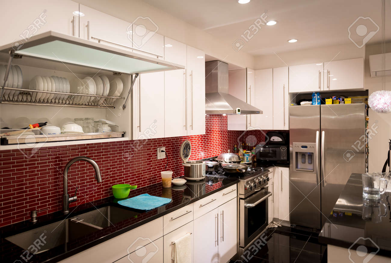 Modern Designed Kitchen With Electrics And Appliances. Stock Photo ...