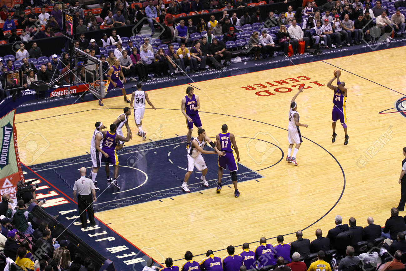 low priced c7ecb aae91 Kobe Bryant and the LA Lakers playing against the old New Jersey..