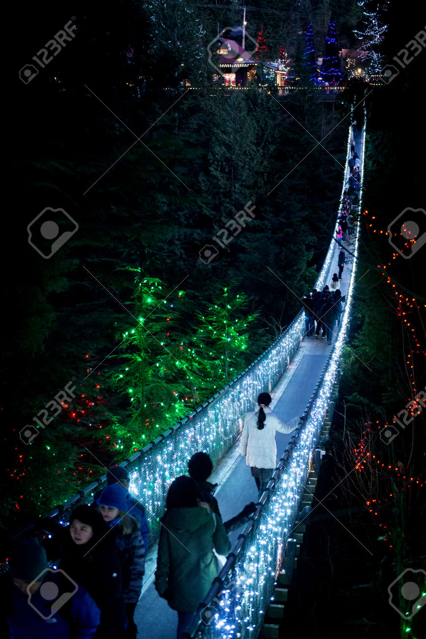Vancouver Christmas Bridge.The Capilano Suspension Bridge In Vancouver Canada Is Lighted